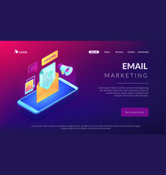 email marketing isometric 3d landing page vector image