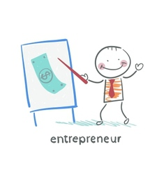entrepreneur tells a presentation vector image
