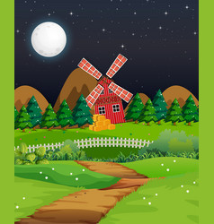 farm scene with barn and mill at night vector image