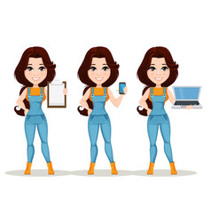 Farmer girl dressed in work jumpsuit set cute vector