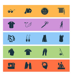 Fashion design icons set with short cardigan vector