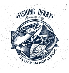 Fishing Logo Salmon Fish icon vector image