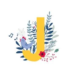 Floral alphabet letter j vector