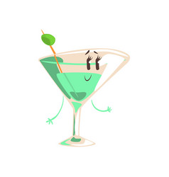 funny cocktail cartoon character element for menu vector image