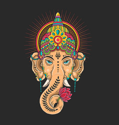 ganesha head mascot colorful vector image