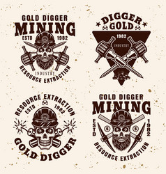 Gold digger resource extraction industry emblems vector