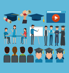 graduates with education online icons vector image