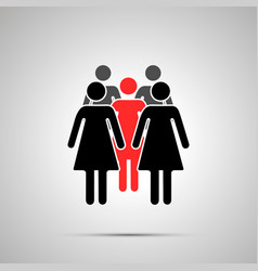 group several woman silhouette with red leader vector image