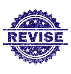 Grunge textured revise stamp seal vector