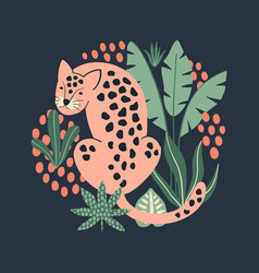 hand drawn print with cute pink leopard and vector image