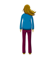 Hand drawn young standing woman with waving or vector