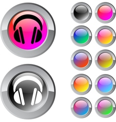 Headphones multicolor round button vector image
