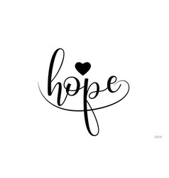 Hope typography text with love heart vector