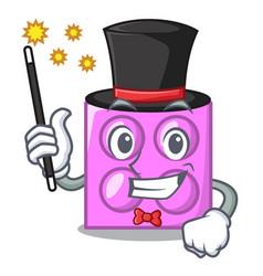 Magician toy brick mascot cartoon vector