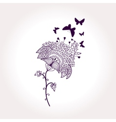 monochrome card with flower and butterflies vector image