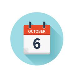 October 6 flat daily calendar icon date vector