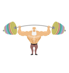 Old man sports senior man athlete and barbell vector