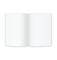 Open magazine or book white blank pages template vector