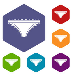 Panties with frill icons set hexagon vector