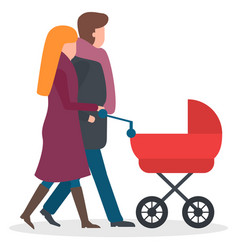 Parents walking with kid in baby carriage family vector