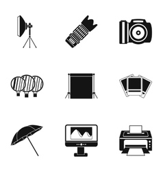 Photographic icons set simple style vector