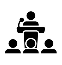 public speaking icon male person on podium vector image