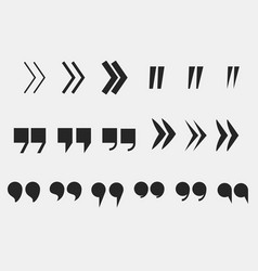 Quote marks set quotation mark symbols vector
