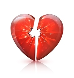 Red glossy broken glass heart icon vector