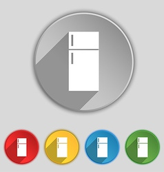 Refrigerator icon sign Symbol on five flat buttons vector