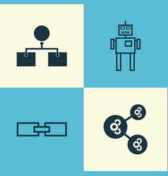 Robotics icons set collection of related vector