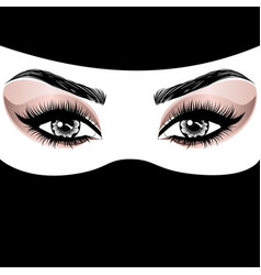 Rose gold arabic woman eye makeup vector