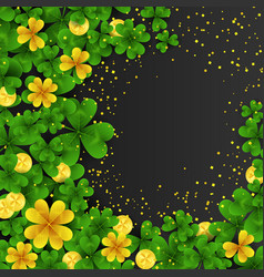 Saint patrick s day frame with green and gold four vector