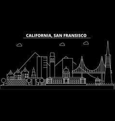 san francisco silhouette skyline usa - san vector image