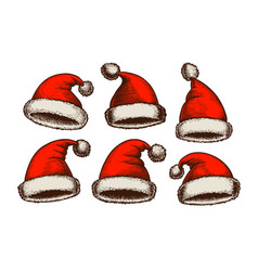 santa claus hat vintage christmas sketch vector image