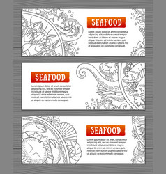 Seafood horizontal banners template for your vector