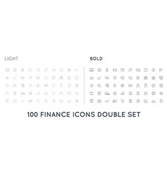 Set of Thin and Bold Finance Money Icons and vector image