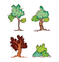 set of trees doodles cartoons vector image