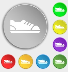 Shoe icon sign Symbol on eight flat buttons vector