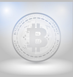 Silver bitcoin digital currency vector