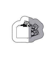 Sticker monochrome contour of folder with money vector