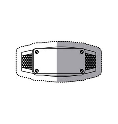Sticker silhouette grille perforated frame with vector