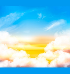 sunset sky background with white transparent vector image