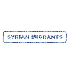 syrian migrants textile stamp vector image