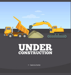 Under construction page building truck yellow vector