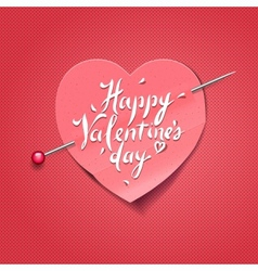 valentines day card with paper heart shaped vector image