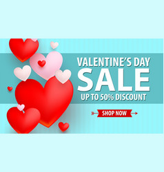 valentines day up to 50 discount banner vector image