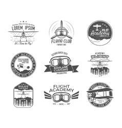 Vintage airplane emblems Biplane labels Retro vector