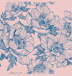 vintage anemone seamless pattern hand vector image