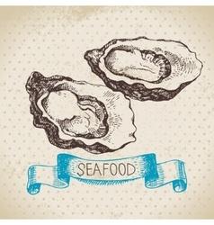 Vintage sea background Hand drawn sketch seafood vector image