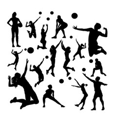 volleyball player silhouettes vector image